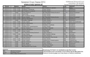 Spielpläne für die Regular Season 2014